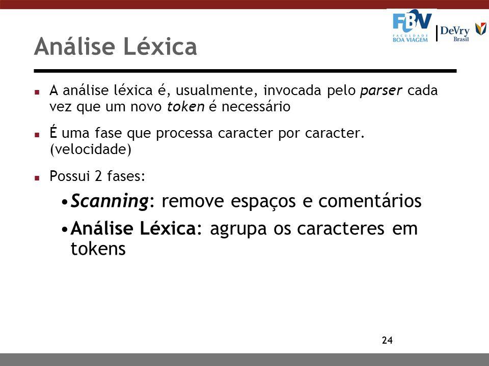 Análise Léxica Scanning: remove espaços e comentários