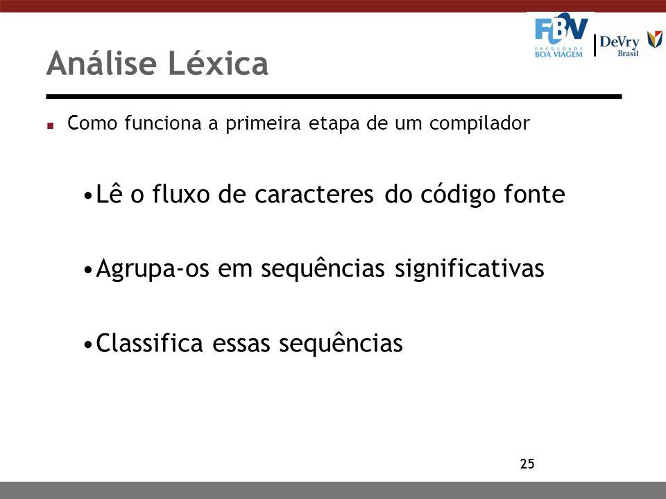 Análise Léxica Lê o fluxo de caracteres do código fonte