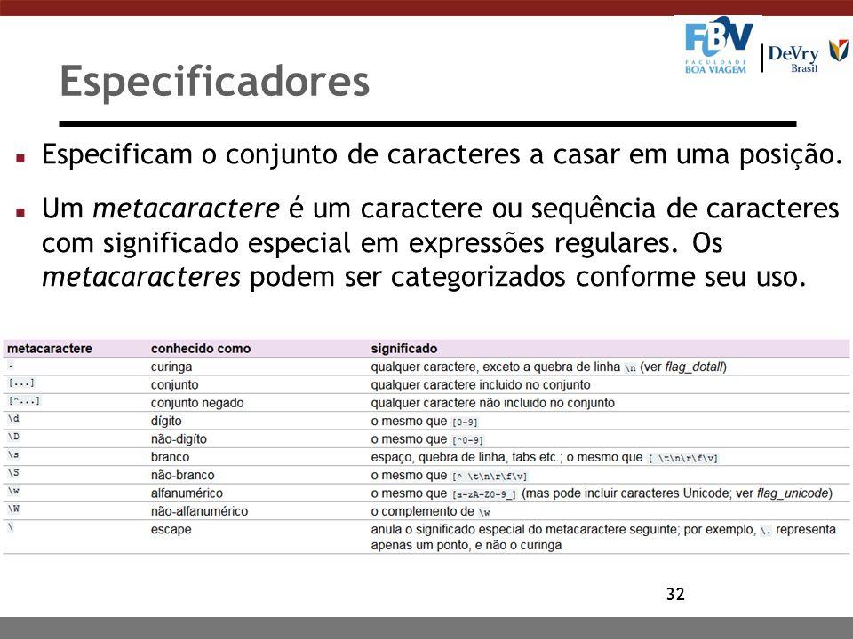Especificadores Especificam o conjunto de caracteres a casar em uma posição.