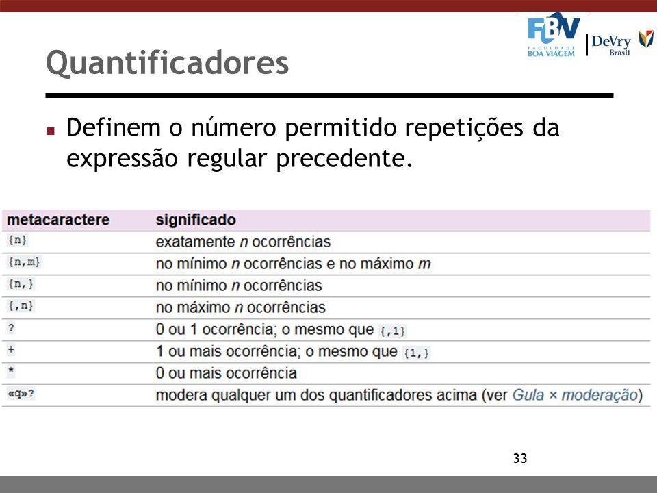 Quantificadores Definem o número permitido repetições da expressão regular precedente.