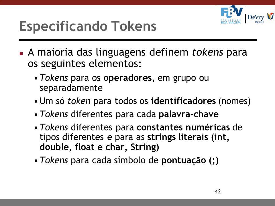 Especificando Tokens A maioria das linguagens definem tokens para os seguintes elementos: Tokens para os operadores, em grupo ou separadamente.