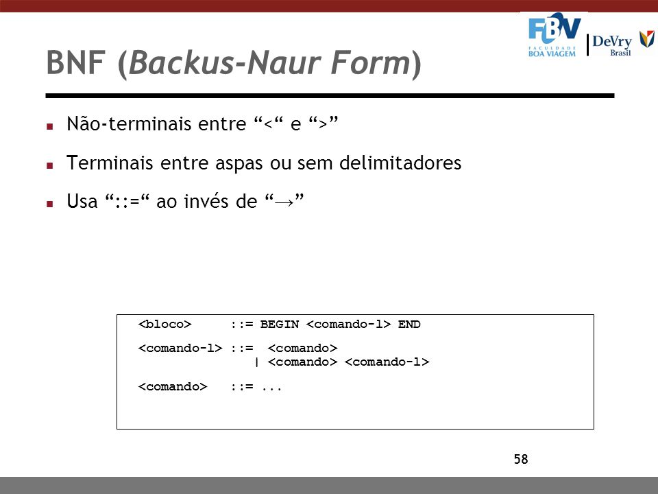 BNF (Backus-Naur Form)