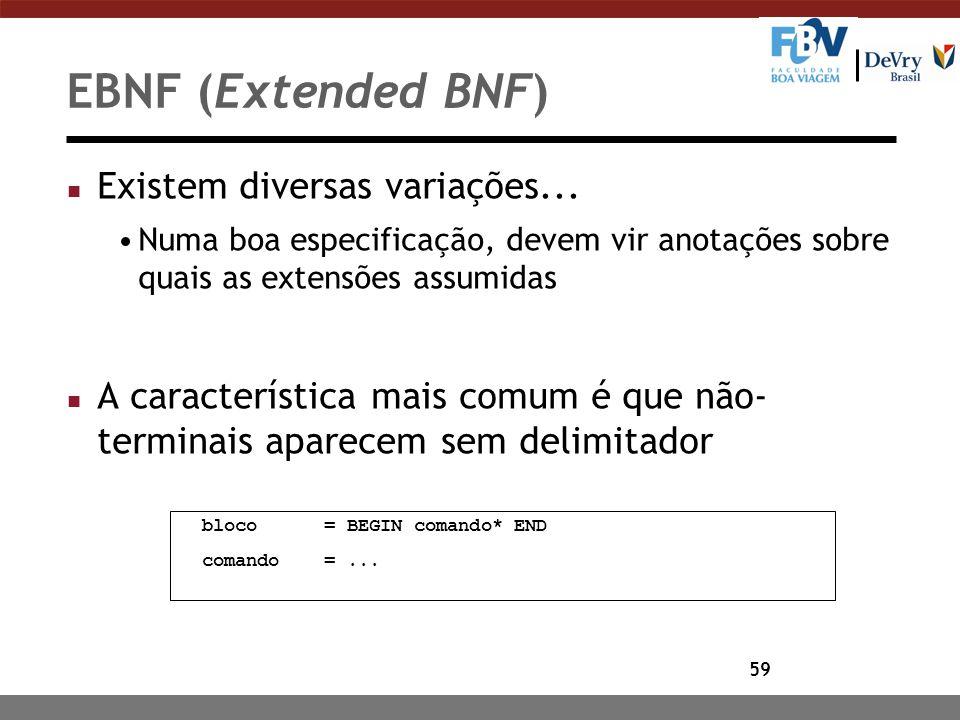 EBNF (Extended BNF) Existem diversas variações...