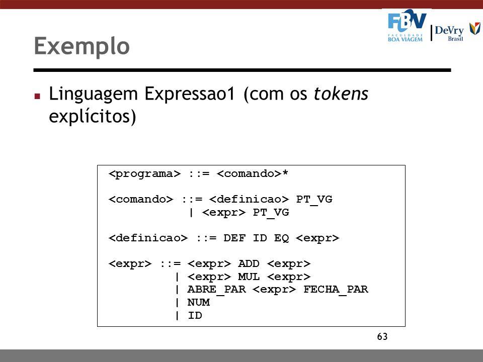 Exemplo Linguagem Expressao1 (com os tokens explícitos)
