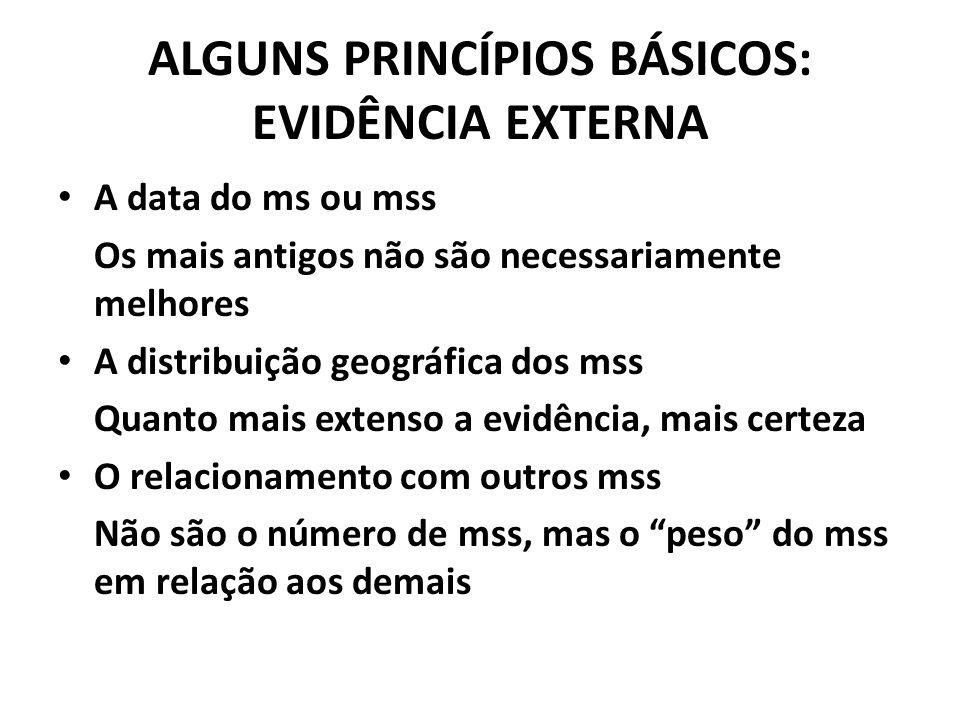ALGUNS PRINCÍPIOS BÁSICOS: EVIDÊNCIA EXTERNA