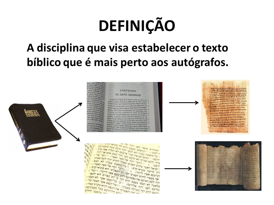 DEFINIÇÃO A disciplina que visa estabelecer o texto bíblico que é mais perto aos autógrafos.