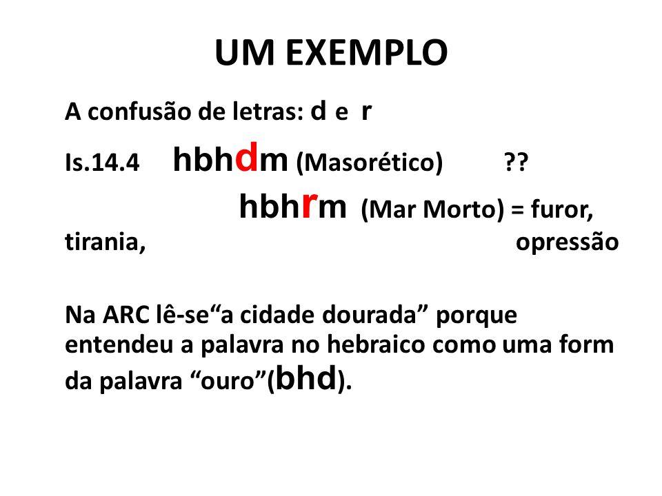 UM EXEMPLO A confusão de letras: d e r