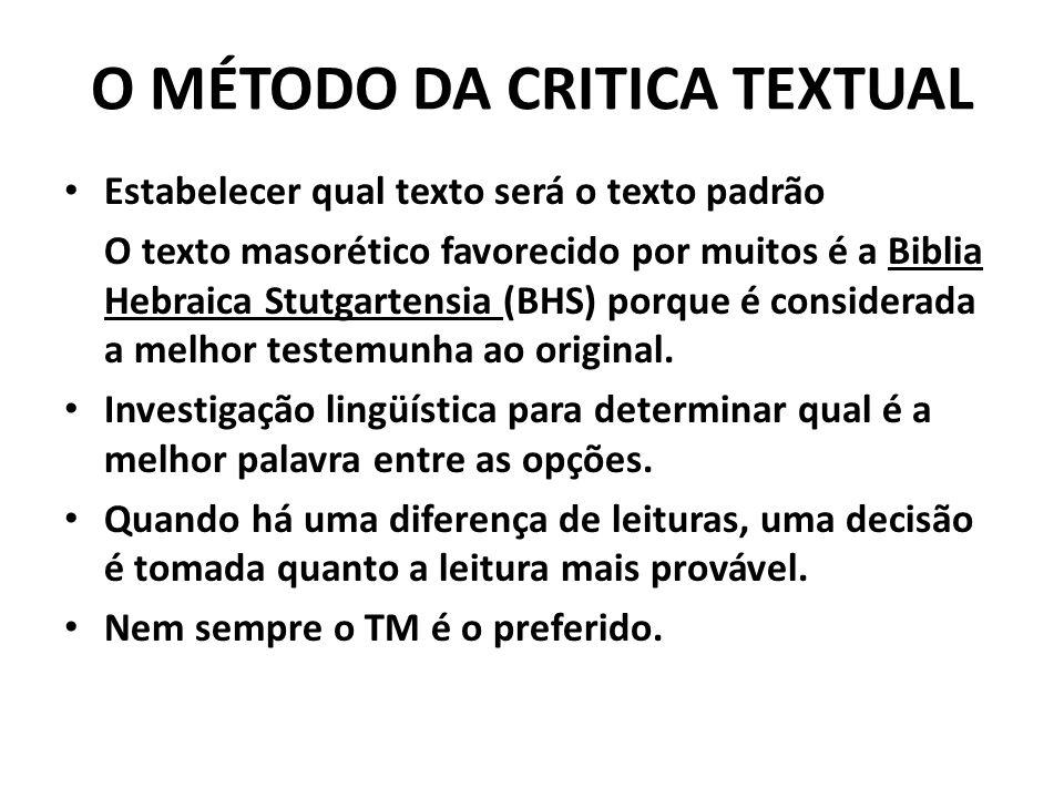 O MÉTODO DA CRITICA TEXTUAL