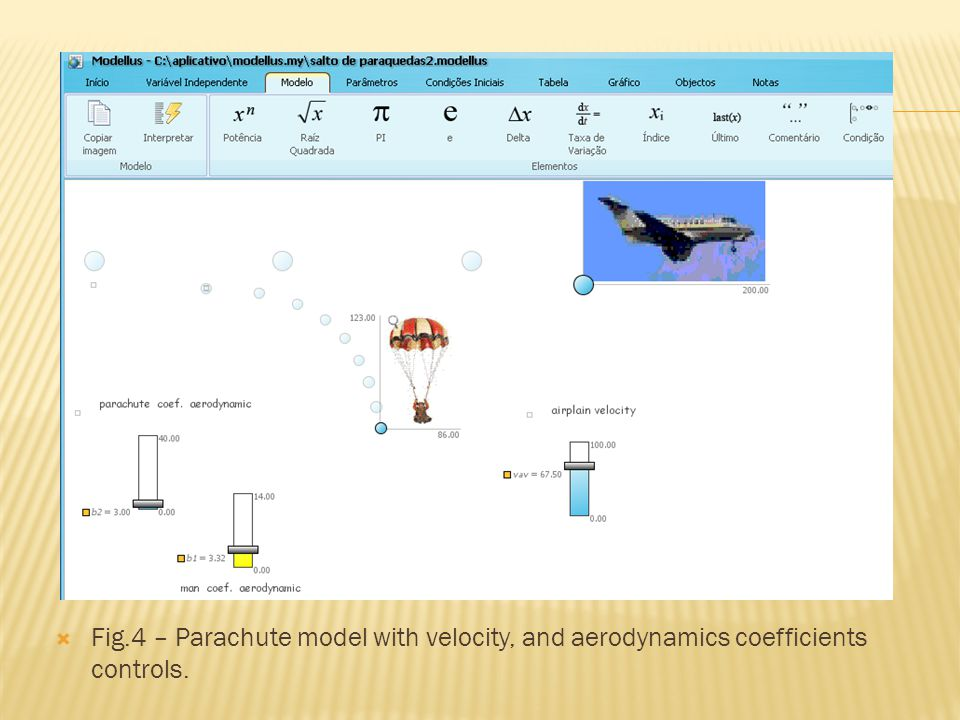Fig.4 – Parachute model with velocity, and aerodynamics coefficients controls.