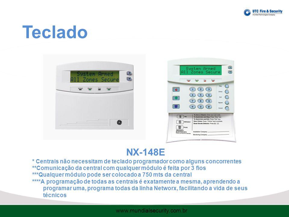 Teclado NX-148E. * Centrais não necessitam de teclado programador como alguns concorrentes.