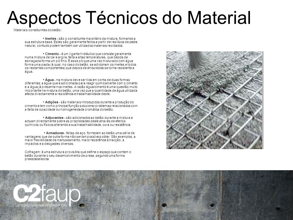 Aspectos Técnicos do Material