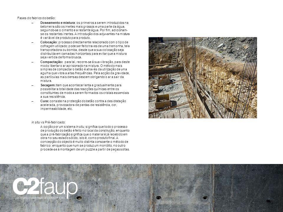 Fases do fabrico do betão: