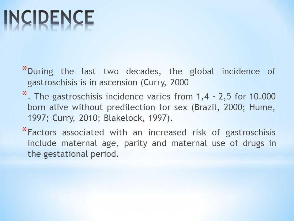 INCIDENCE During the last two decades, the global incidence of gastroschisis is in ascension (Curry, 2000.