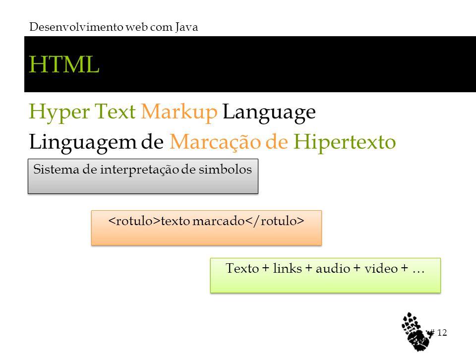 HTML Hyper Text Markup Language Linguagem de Marcação de Hipertexto