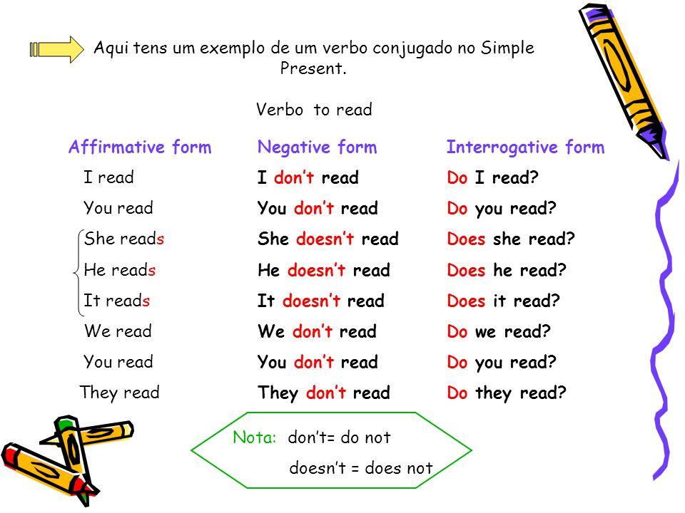 Aqui tens um exemplo de um verbo conjugado no Simple Present