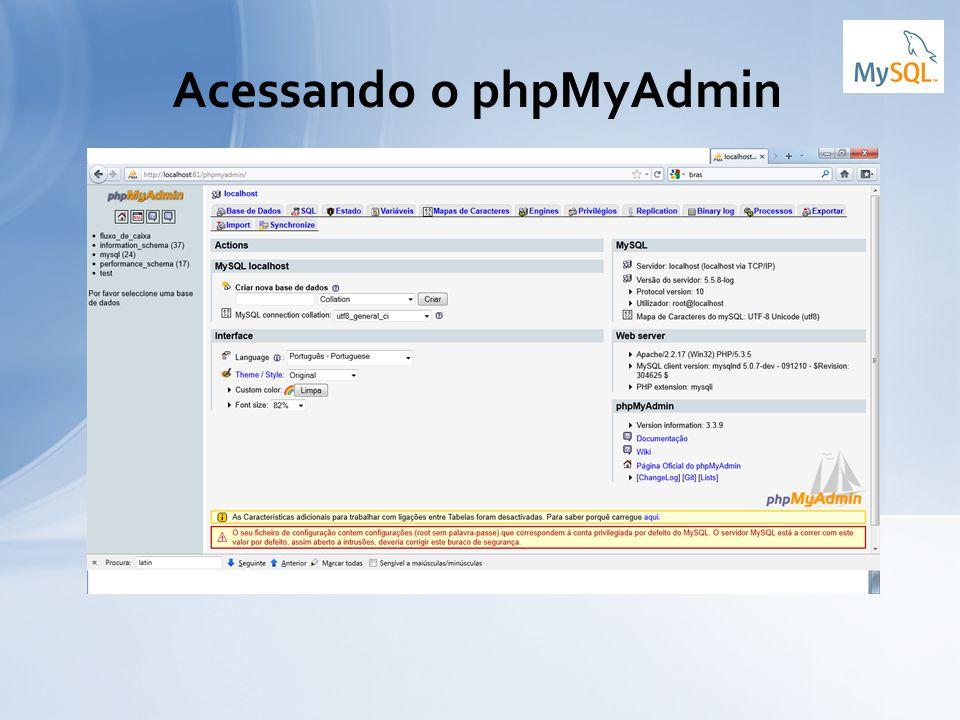 Acessando o phpMyAdmin