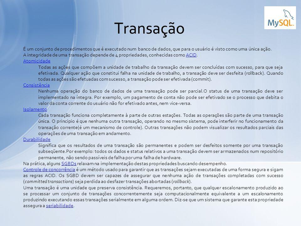 Transação É um conjunto de procedimentos que é executado num banco de dados, que para o usuário é visto como uma única ação.