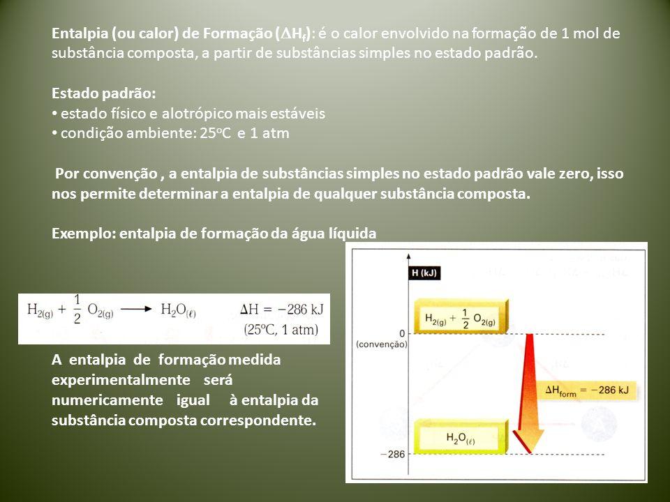 Entalpia (ou calor) de Formação (DHf): é o calor envolvido na formação de 1 mol de substância composta, a partir de substâncias simples no estado padrão.