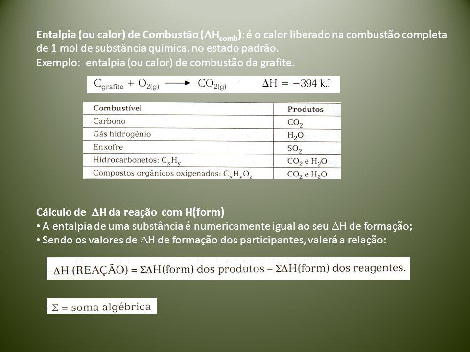 Entalpia (ou calor) de Combustão (DHcomb): é o calor liberado na combustão completa de 1 mol de substância química, no estado padrão.