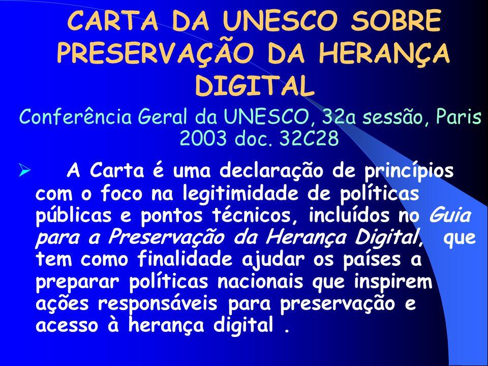 CARTA DA UNESCO SOBRE PRESERVAÇÃO DA HERANÇA DIGITAL