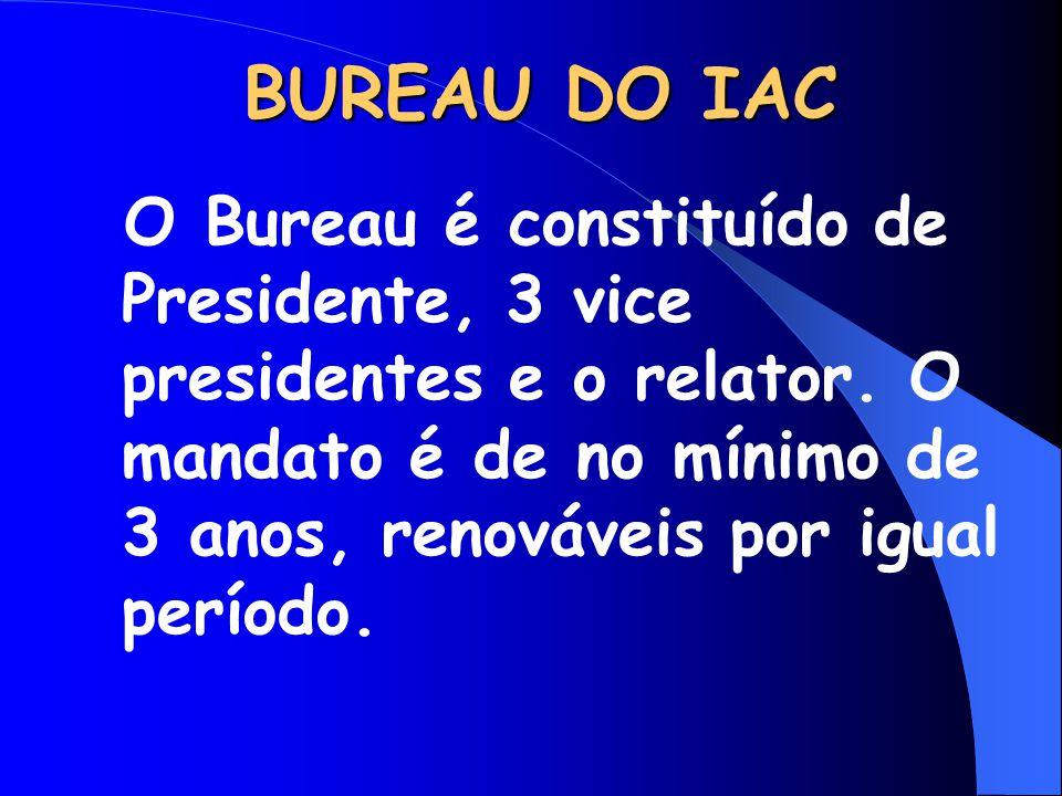 BUREAU DO IAC O Bureau é constituído de Presidente, 3 vice presidentes e o relator.
