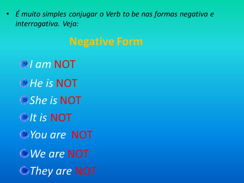 Negative Form I am NOT He is NOT She is NOT It is NOT You are NOT
