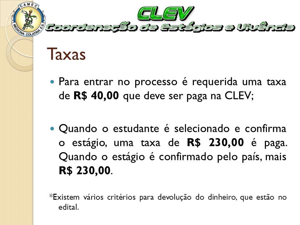 Taxas Para entrar no processo é requerida uma taxa de R$ 40,00 que deve ser paga na CLEV;