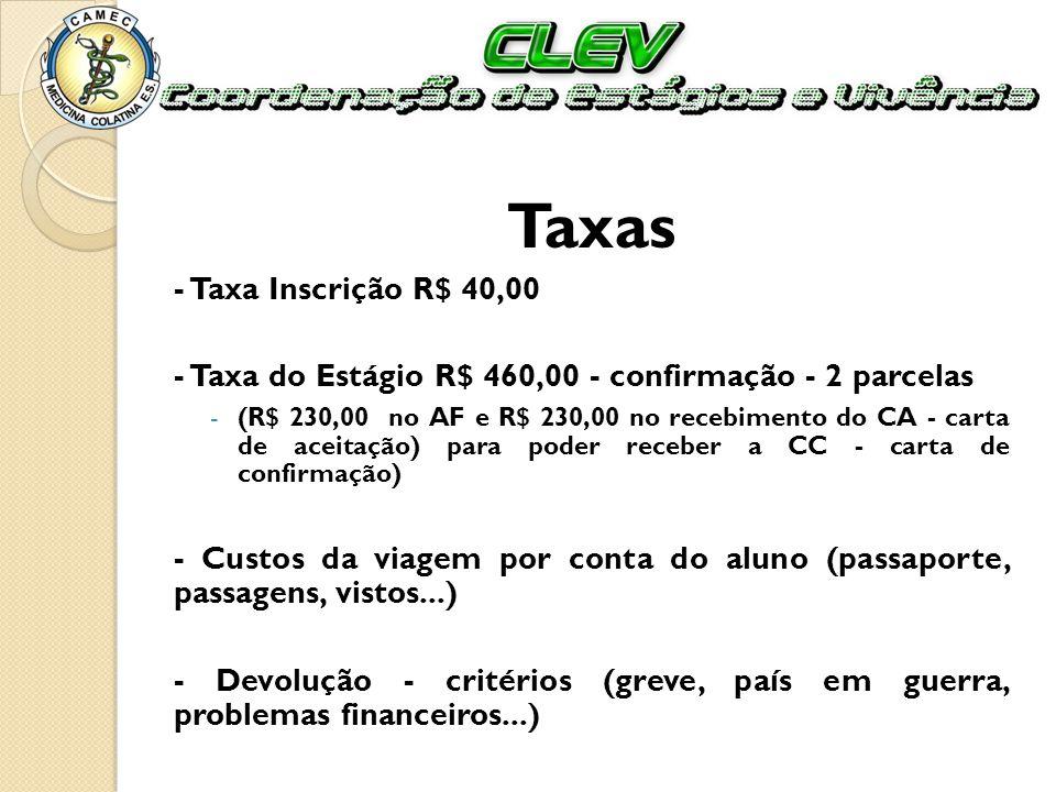 Taxas - Taxa Inscrição R$ 40,00