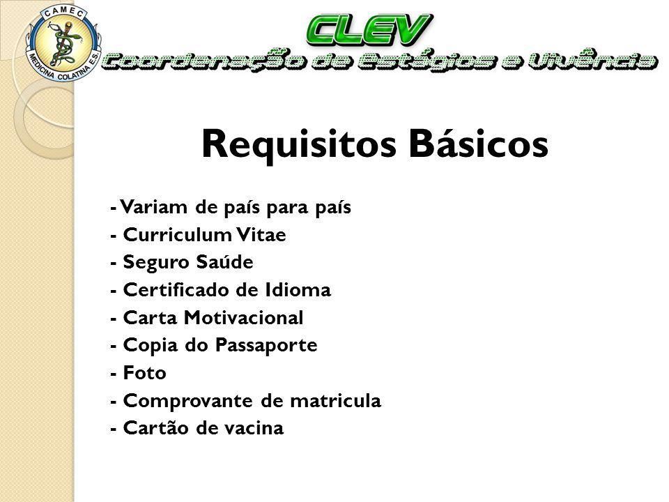 Requisitos Básicos - Variam de país para país - Curriculum Vitae