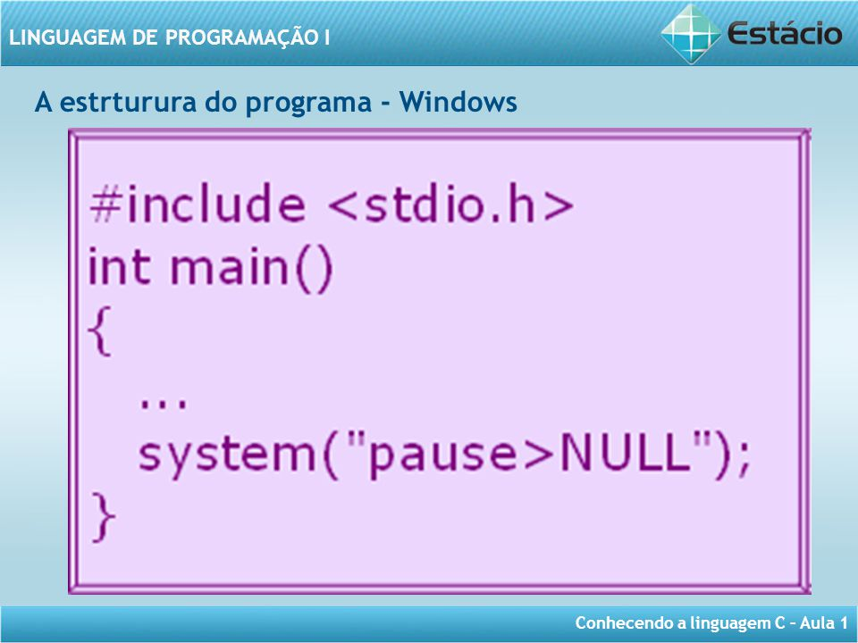 A estrturura do programa - Windows