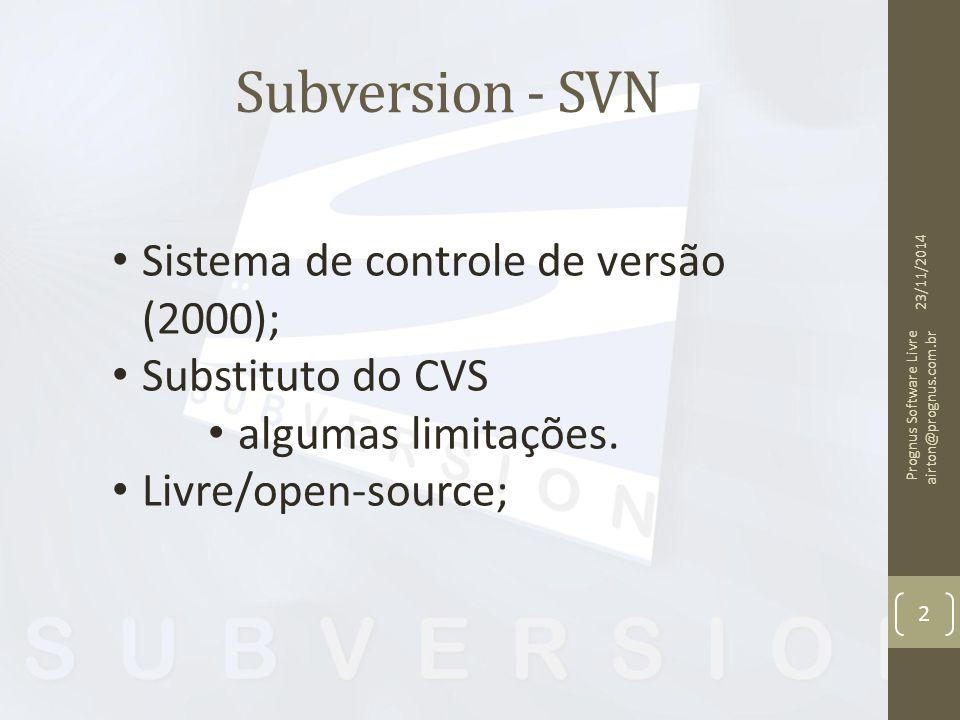 Subversion - SVN Sistema de controle de versão (2000);