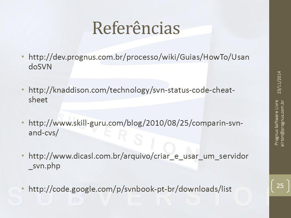 Referências http://dev.prognus.com.br/processo/wiki/Guias/HowTo/UsandoSVN. http://knaddison.com/technology/svn-status-code-cheat-sheet.
