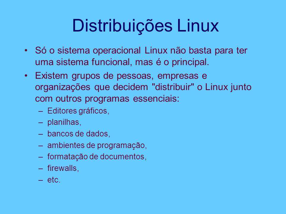 Distribuições Linux Só o sistema operacional Linux não basta para ter uma sistema funcional, mas é o principal.