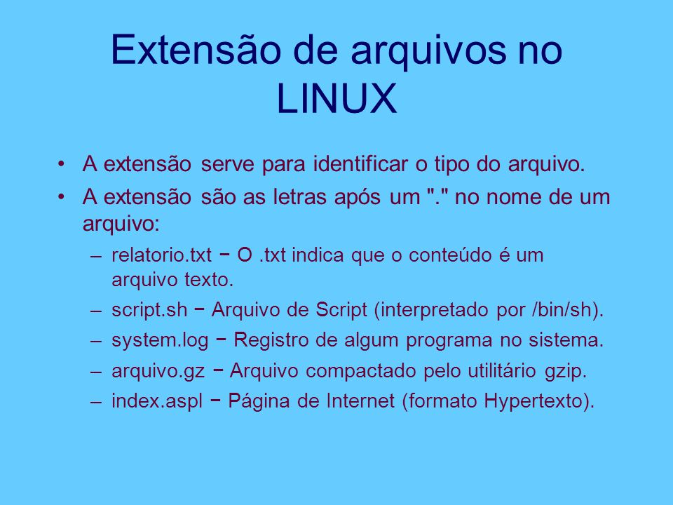 Extensão de arquivos no LINUX