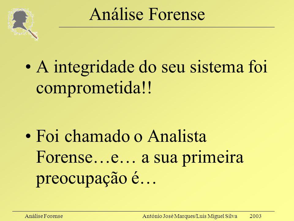 Análise Forense A integridade do seu sistema foi comprometida!.