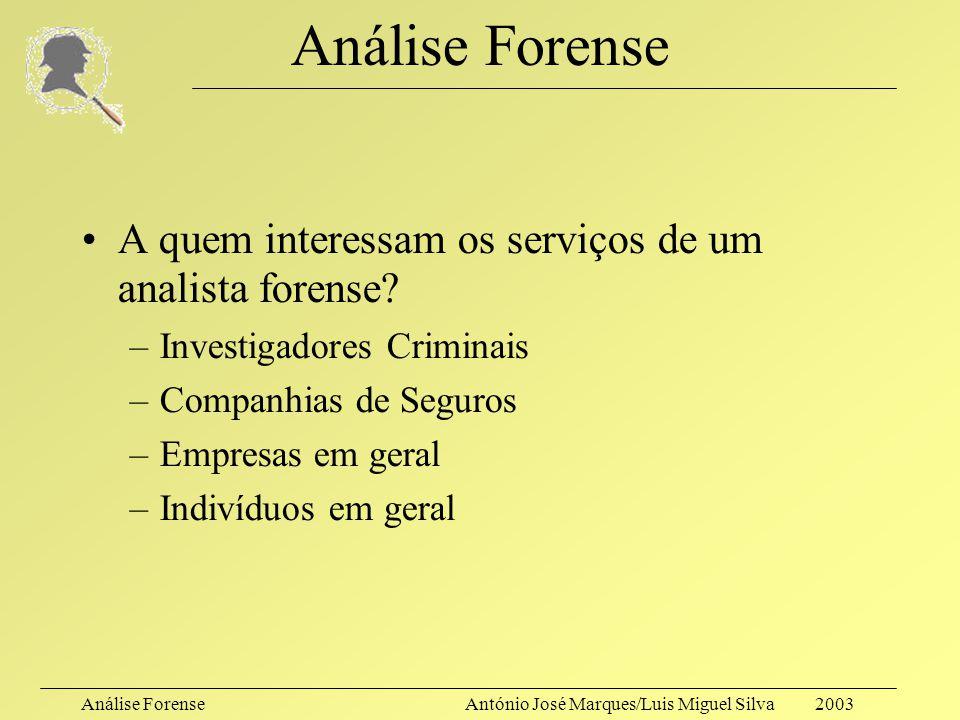 Análise Forense A quem interessam os serviços de um analista forense