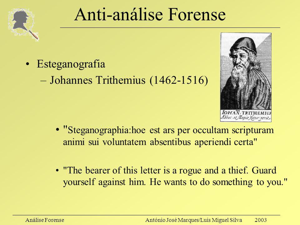 Anti-análise Forense Esteganografia Johannes Trithemius (1462-1516)