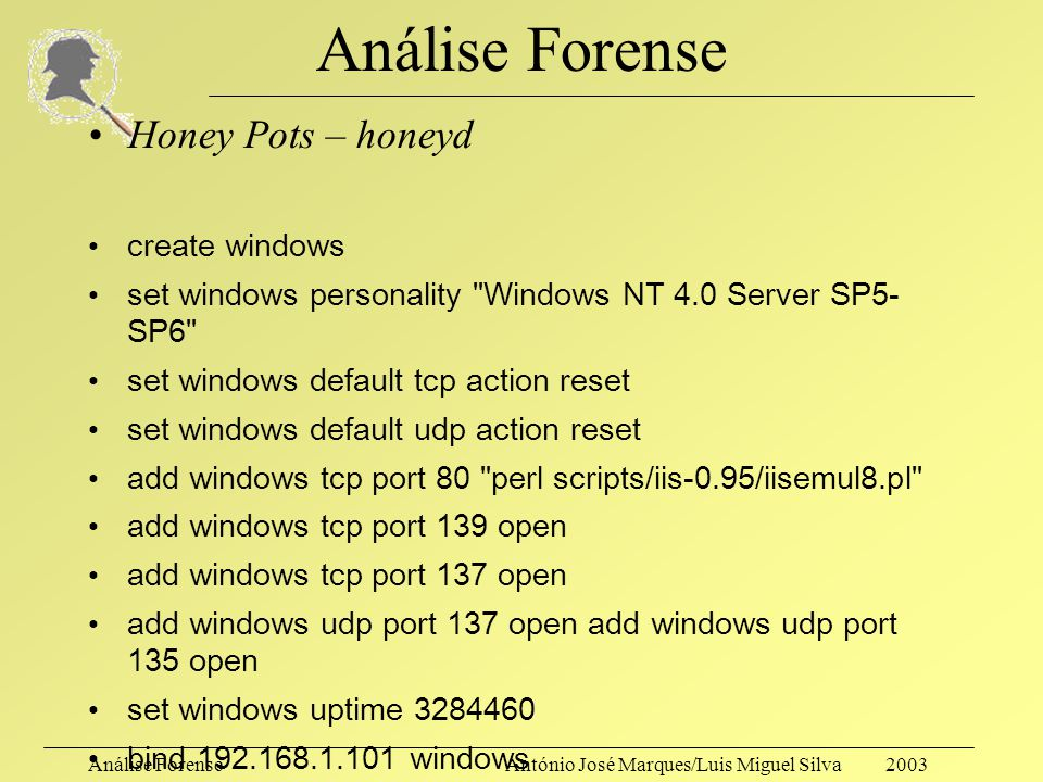 Análise Forense Honey Pots – honeyd create windows
