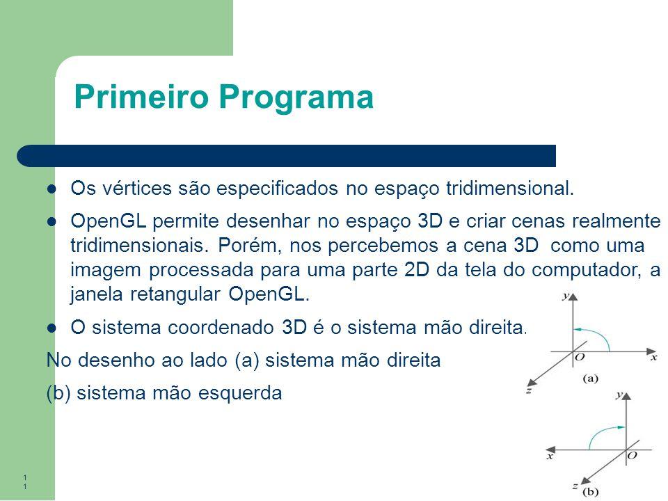 Primeiro Programa Os vértices são especificados no espaço tridimensional.