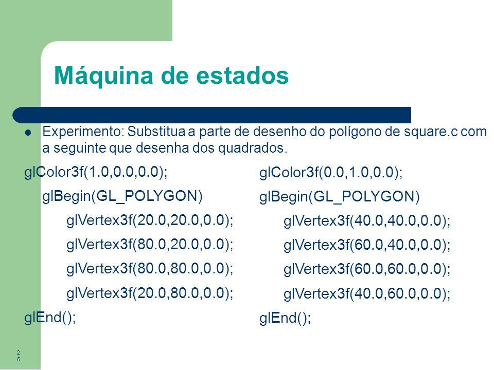 Máquina de estados glColor3f(1.0,0.0,0.0); glBegin(GL_POLYGON)