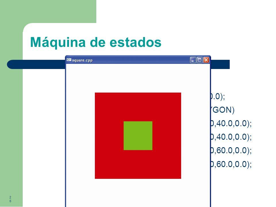 Máquina de estados glColor3f(0.0,1.0,0.0); glBegin(GL_POLYGON)