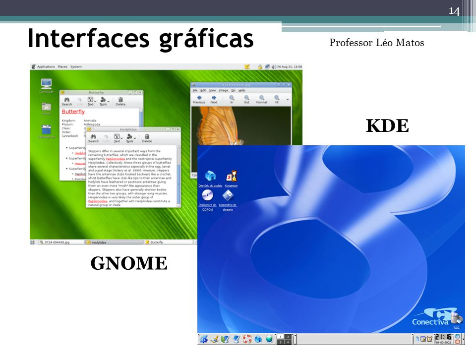 Interfaces gráficas Professor Léo Matos KDE GNOME