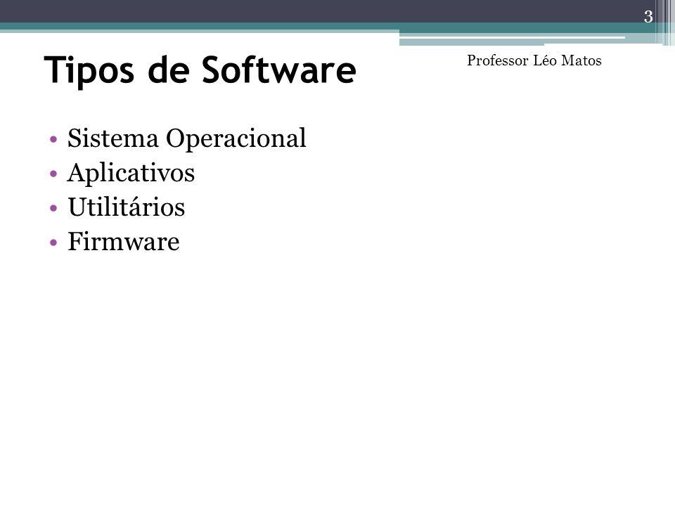 Tipos de Software Sistema Operacional Aplicativos Utilitários Firmware