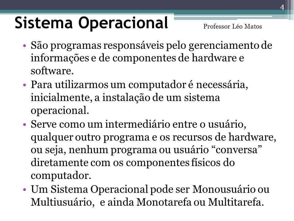 Sistema Operacional Professor Léo Matos. São programas responsáveis pelo gerenciamento de informações e de componentes de hardware e software.