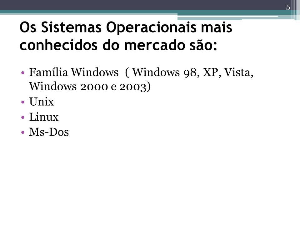 Os Sistemas Operacionais mais conhecidos do mercado são: