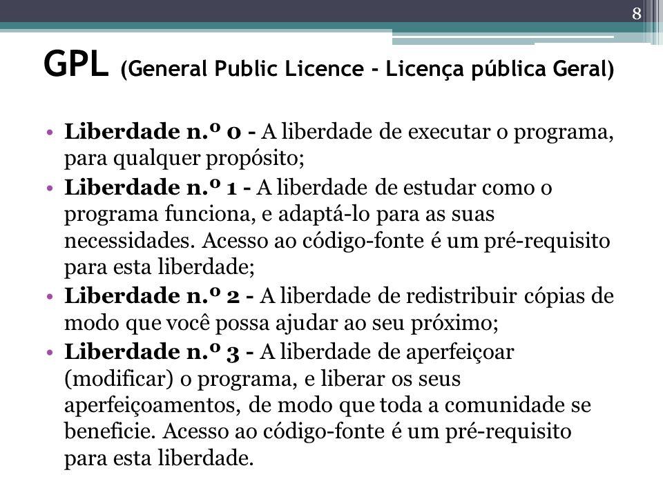 GPL (General Public Licence - Licença pública Geral)