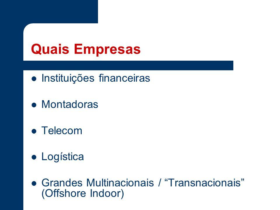 Quais Empresas Instituições financeiras Montadoras Telecom Logística