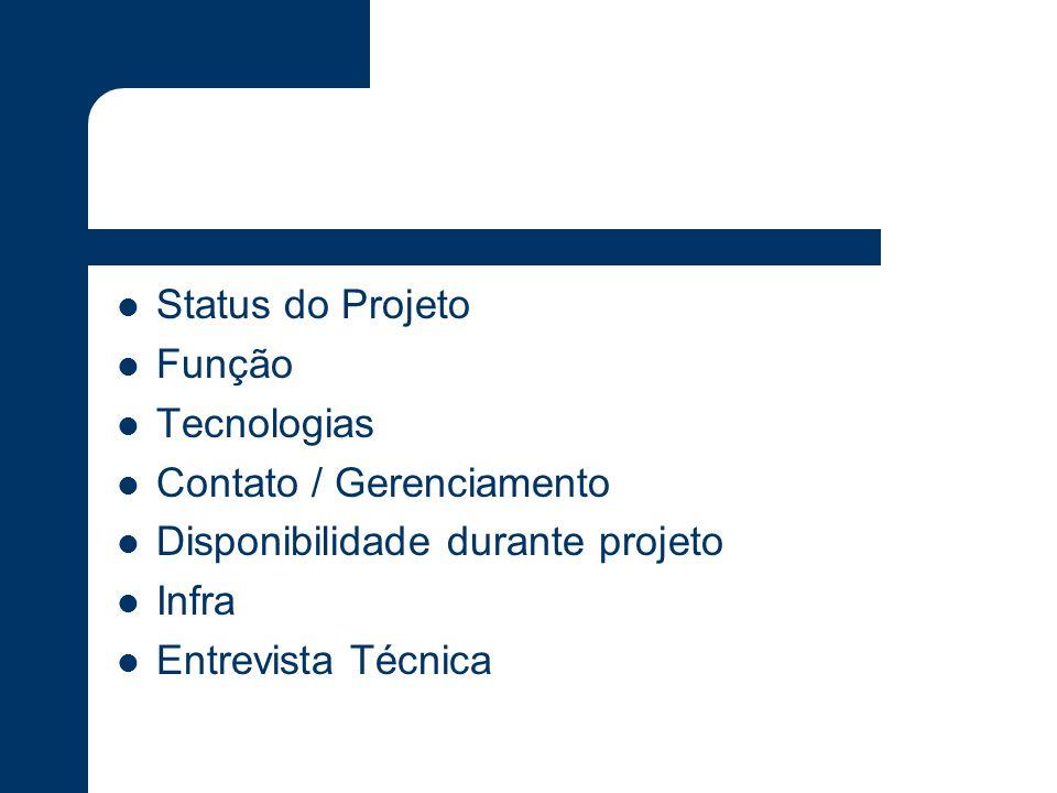 Status do Projeto Função. Tecnologias. Contato / Gerenciamento. Disponibilidade durante projeto.
