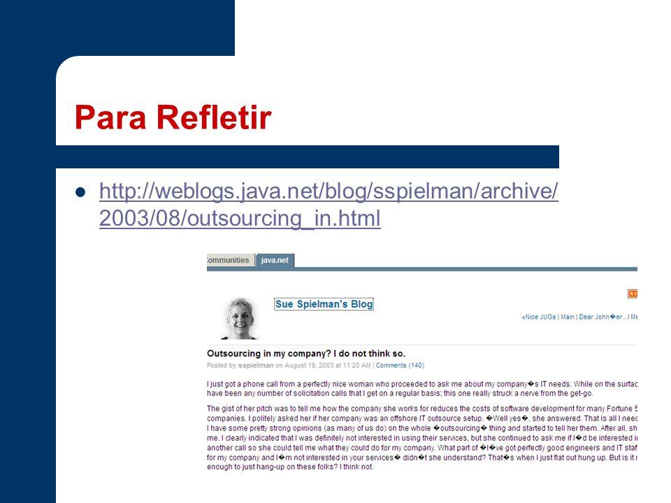 Para Refletir http://weblogs.java.net/blog/sspielman/archive/2003/08/outsourcing_in.html