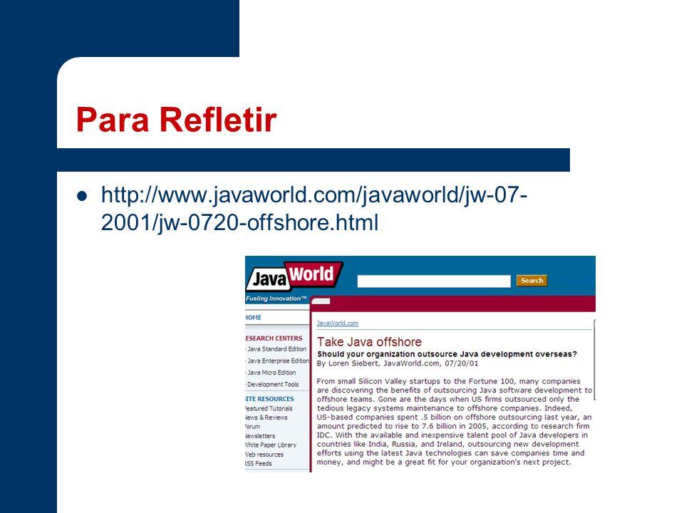 Para Refletir http://www.javaworld.com/javaworld/jw-07-2001/jw-0720-offshore.html